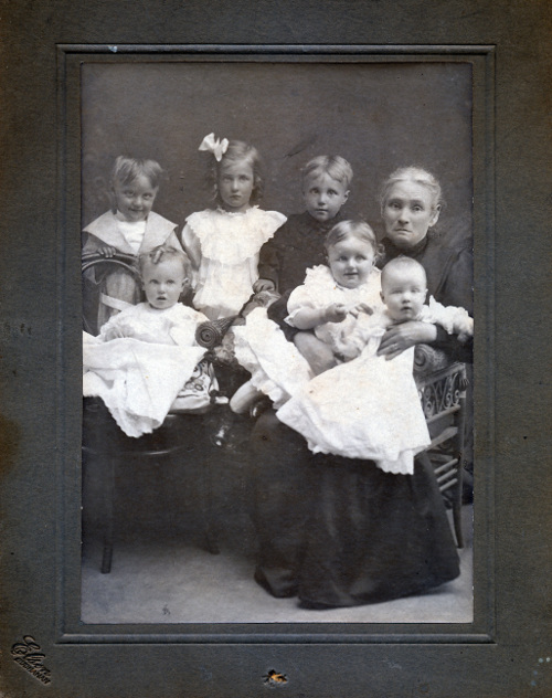 6 toddlers with woman