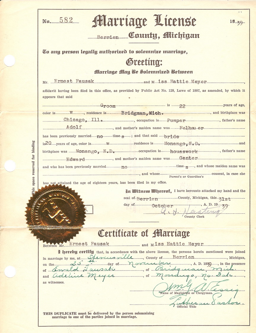 Berrien County Marriages F Surnames
